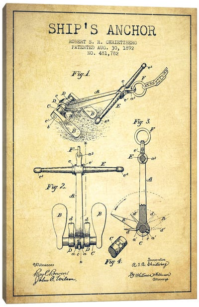 Anchor Vintage Patent Blueprint Canvas Art Print