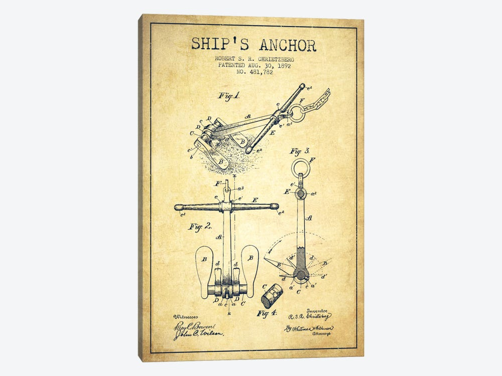 Anchor Vintage Patent Blueprint by Aged Pixel 1-piece Canvas Wall Art