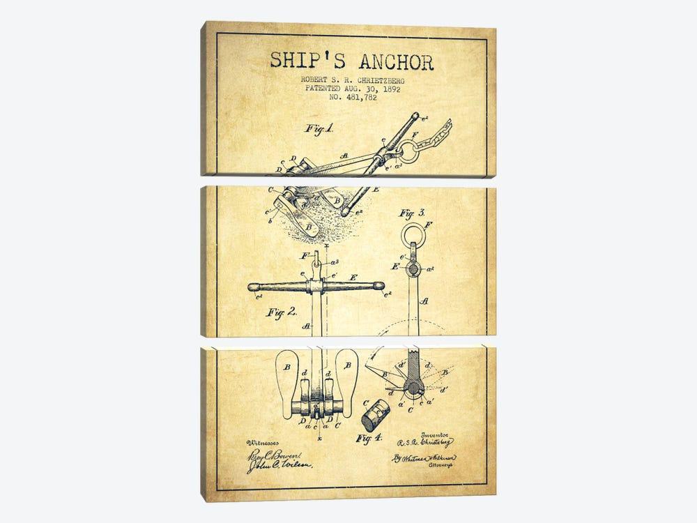 Anchor Vintage Patent Blueprint by Aged Pixel 3-piece Canvas Art