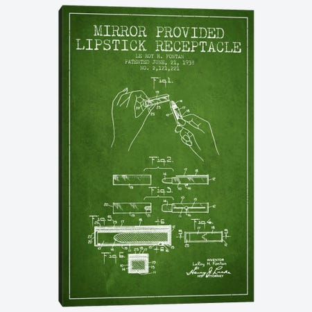 Mirror Provided Lipstick Green Patent Blueprint Canvas Print #ADP259} by Aged Pixel Canvas Wall Art