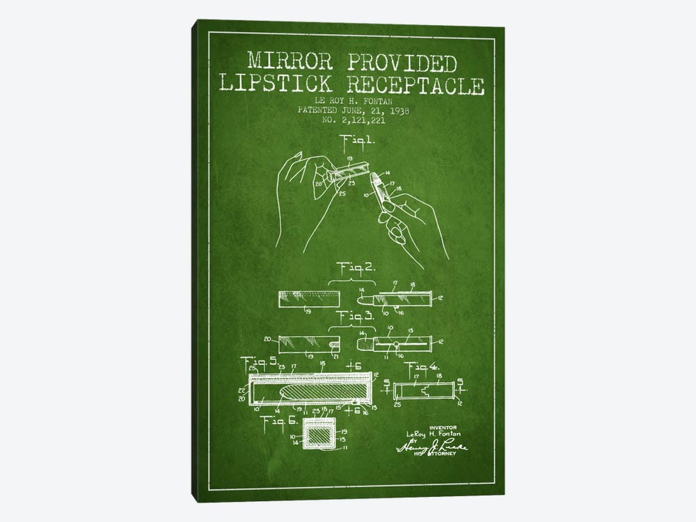 Mirror Provided Lipstick Green Patent Blueprint by Aged Pixel 1-piece Canvas Artwork