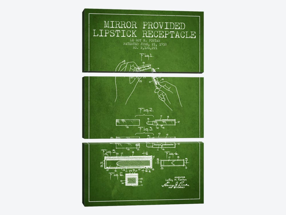 Mirror Provided Lipstick Green Patent Blueprint by Aged Pixel 3-piece Canvas Art