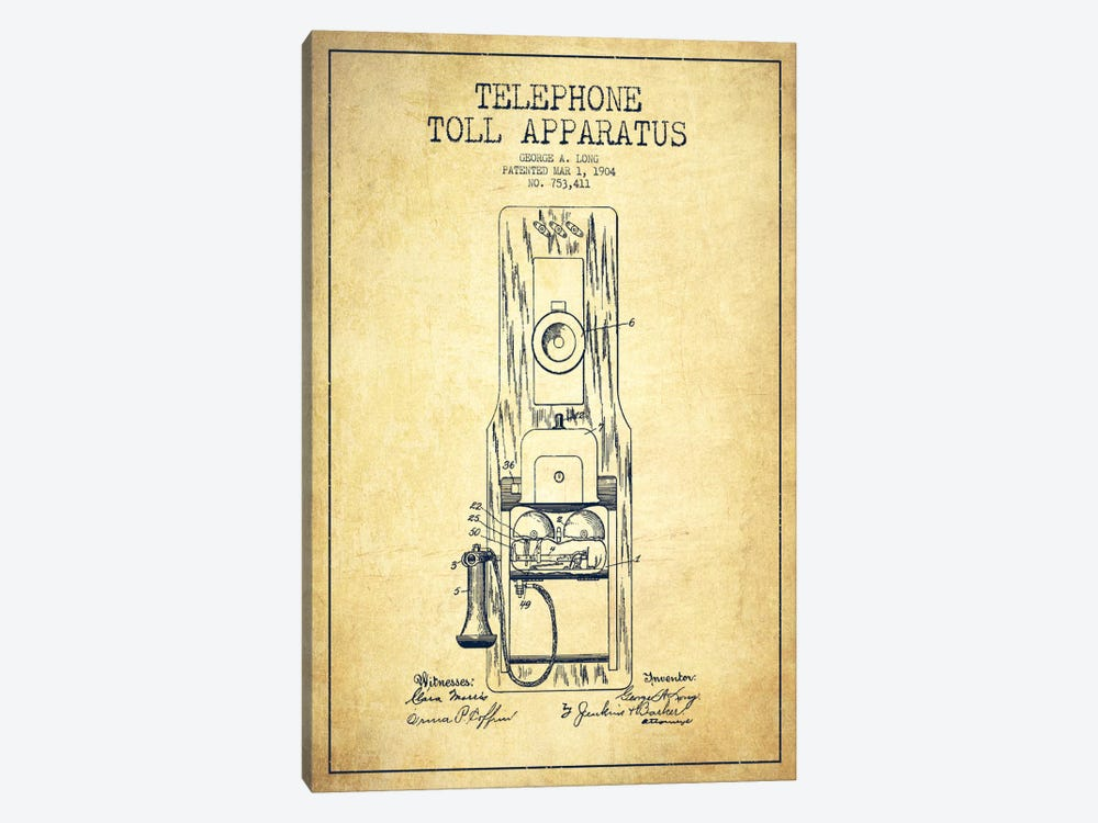 Long Telephone Toll Vintage Patent Blueprint by Aged Pixel 1-piece Canvas Artwork
