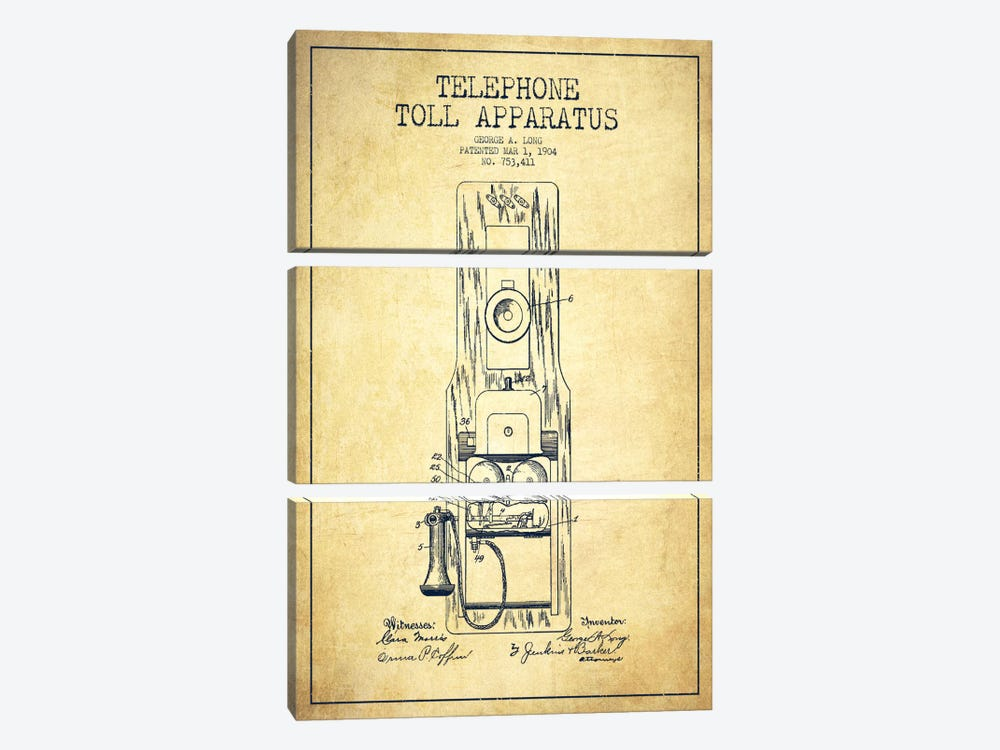 Long Telephone Toll Vintage Patent Blueprint by Aged Pixel 3-piece Canvas Art