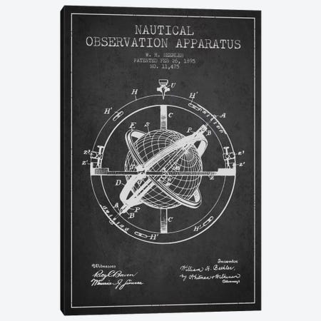 Nautical Observation Apparatus Charcoal Patent Blueprint Canvas Print #ADP2600} by Aged Pixel Canvas Wall Art