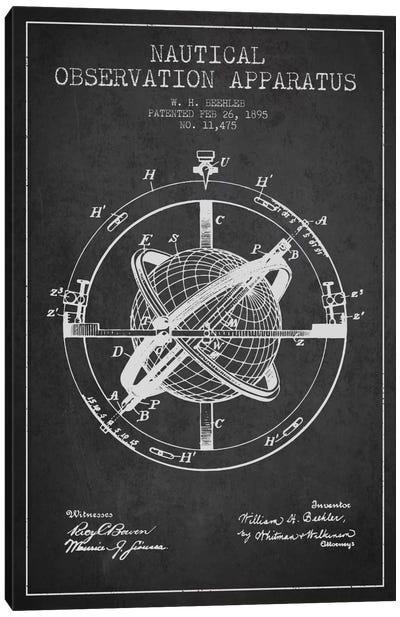 Nautical Observation Apparatus Charcoal Patent Blueprint Canvas Art Print