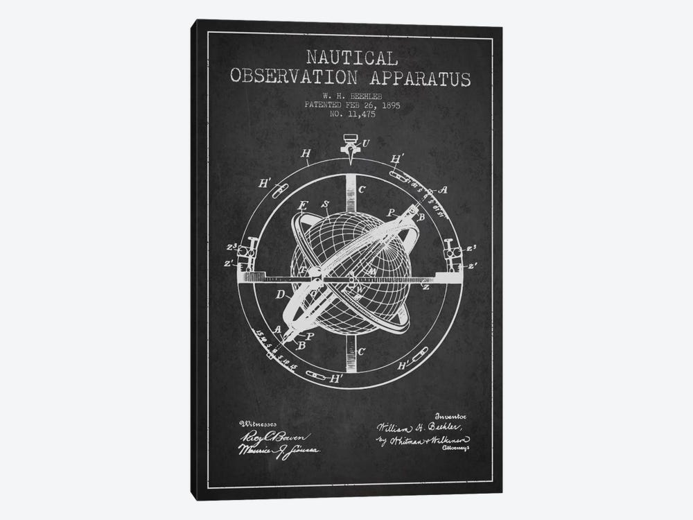 Nautical Observation Apparatus Charcoal Patent Blueprint by Aged Pixel 1-piece Canvas Art