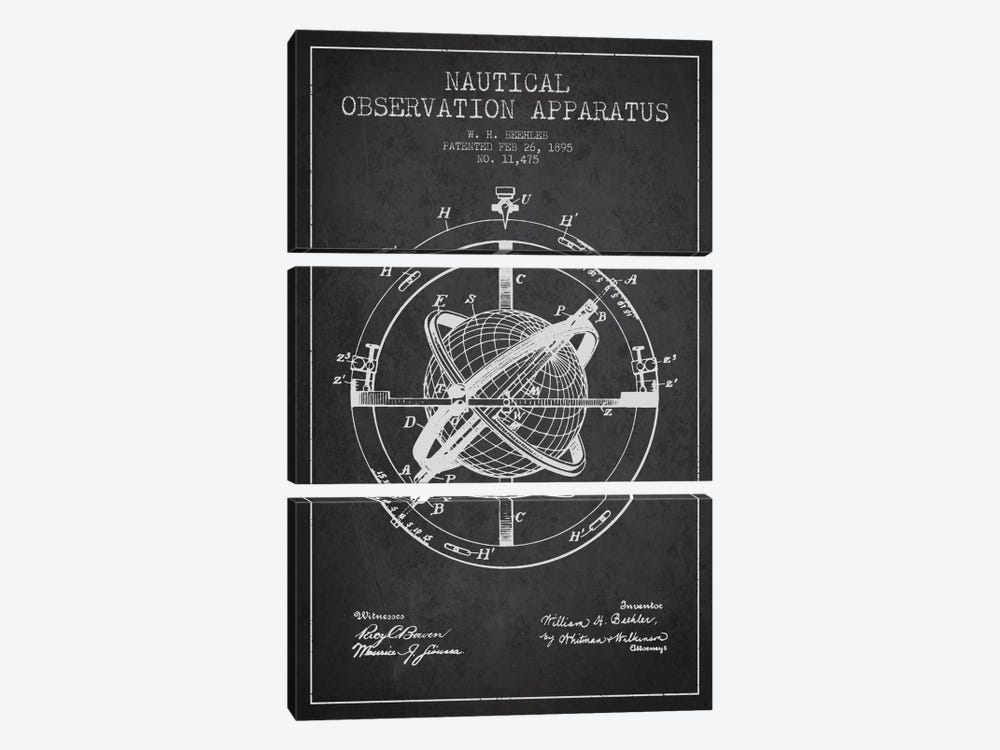 Nautical Observation Apparatus Charcoal Patent Blueprint by Aged Pixel 3-piece Canvas Wall Art