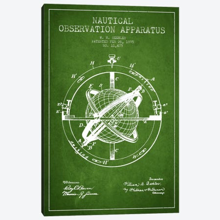 Nautical Observation Apparatus Green Patent Blueprint Canvas Print #ADP2601} by Aged Pixel Canvas Art