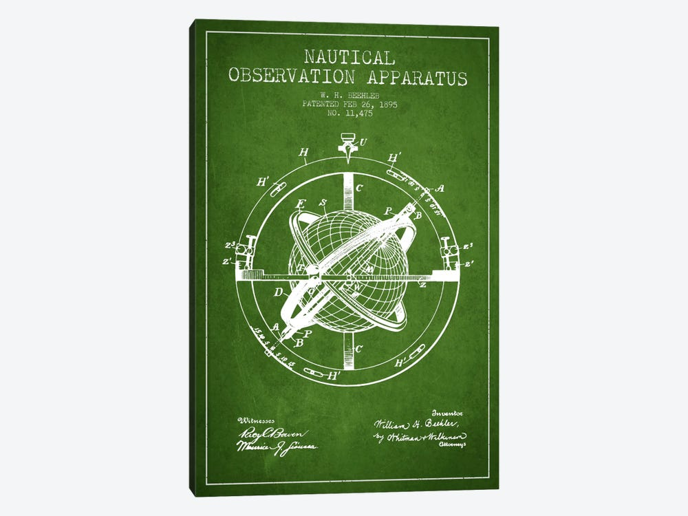 Nautical Observation Apparatus Green Patent Blueprint by Aged Pixel 1-piece Art Print