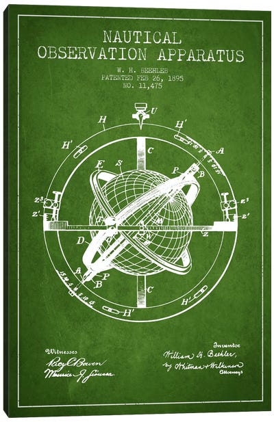 Nautical Observation Apparatus Green Patent Blueprint Canvas Art Print