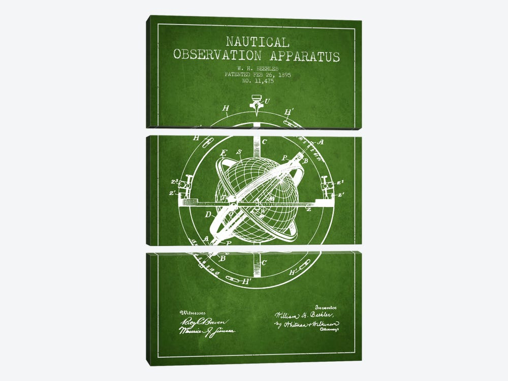 Nautical Observation Apparatus Green Patent Blueprint by Aged Pixel 3-piece Art Print