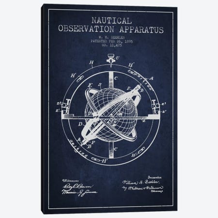 Nautical Observation Apparatus Navy Blue Patent Blueprint Canvas Print #ADP2602} by Aged Pixel Canvas Wall Art