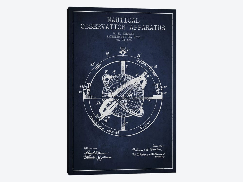 Nautical Observation Apparatus Navy Blue Patent Blueprint by Aged Pixel 1-piece Canvas Wall Art