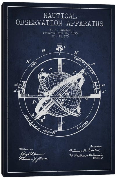 Nautical Observation Apparatus Navy Blue Patent Blueprint Canvas Art Print