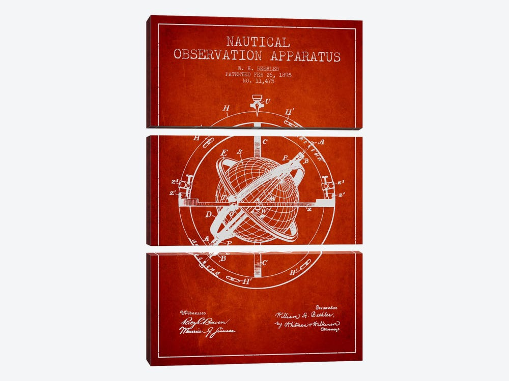 Nautical Observation Apparatus Red Patent Blueprint by Aged Pixel 3-piece Art Print