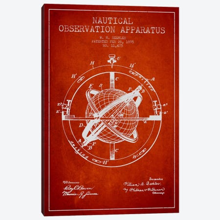 Nautical Observation Apparatus Red Patent Blueprint 3-Piece Canvas #ADP2603} by Aged Pixel Canvas Artwork