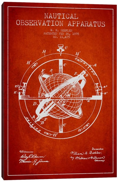 Nautical Observation Apparatus Red Patent Blueprint Canvas Art Print