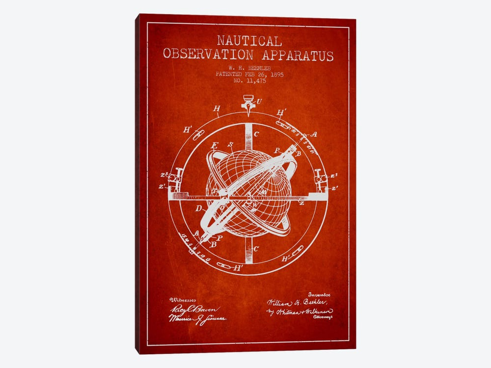 Nautical Observation Apparatus Red Patent Blueprint by Aged Pixel 1-piece Canvas Print