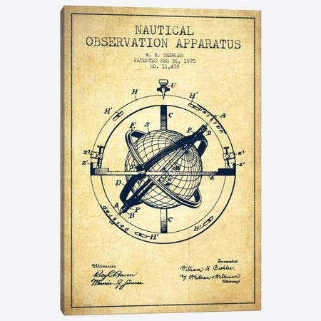 Nautical Observation Apparatus Vintage Patent Blueprint Canvas Print #ADP2604} by Aged Pixel Canvas Print