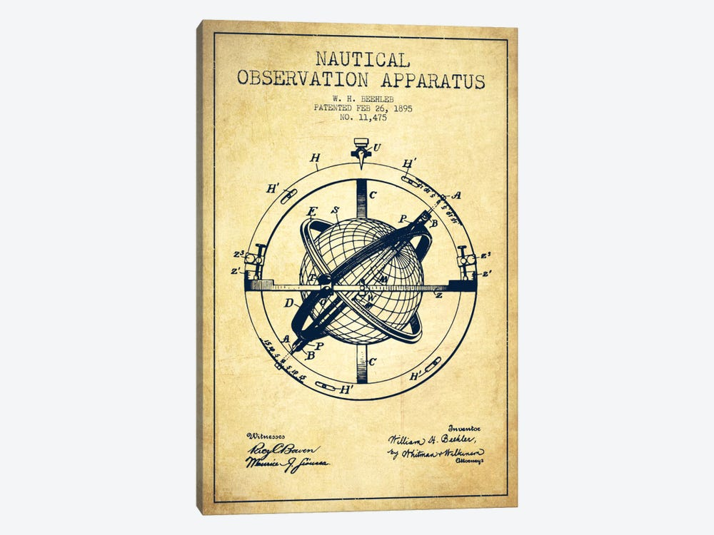 Nautical Observation Apparatus Vintage Patent Blueprint by Aged Pixel 1-piece Canvas Art
