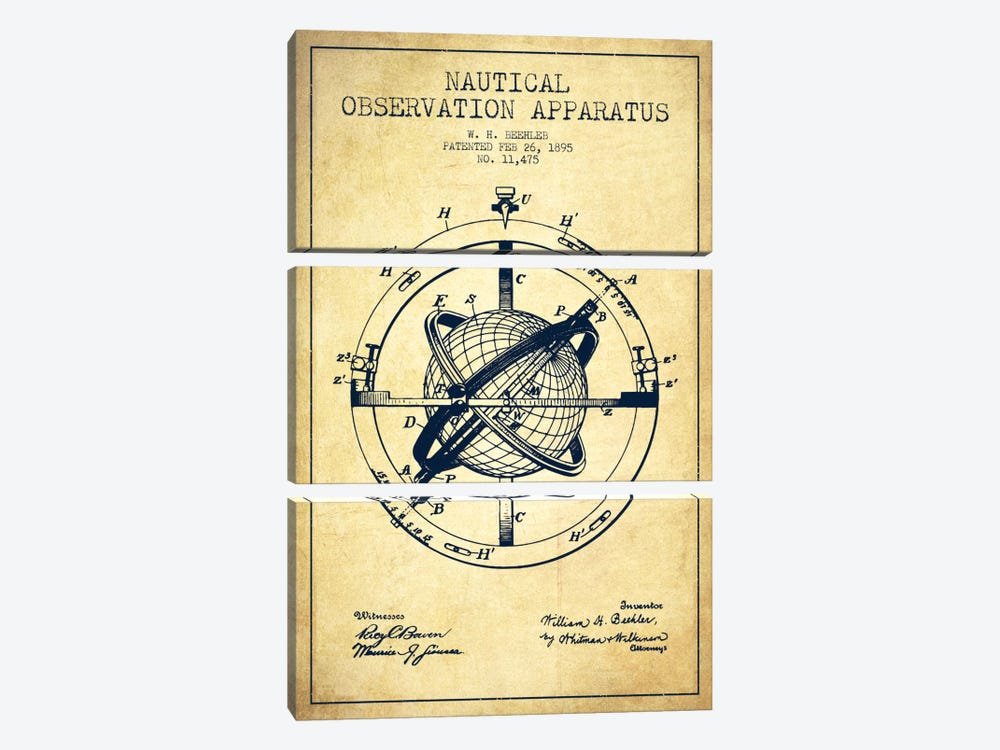 Nautical Observation Apparatus Vintage Patent Blueprint by Aged Pixel 3-piece Canvas Artwork