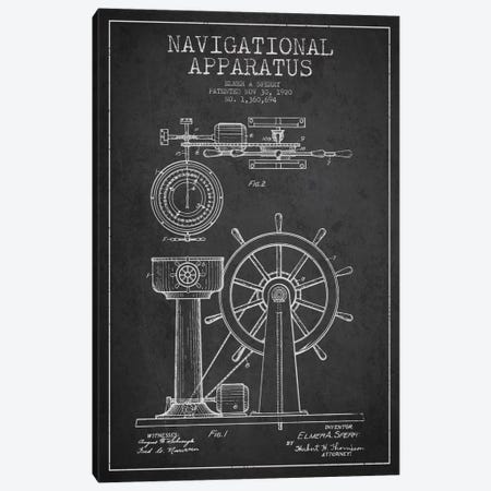 Navigational Apparatus Charcoal Patent Blueprint Canvas Print #ADP2605} by Aged Pixel Canvas Art Print