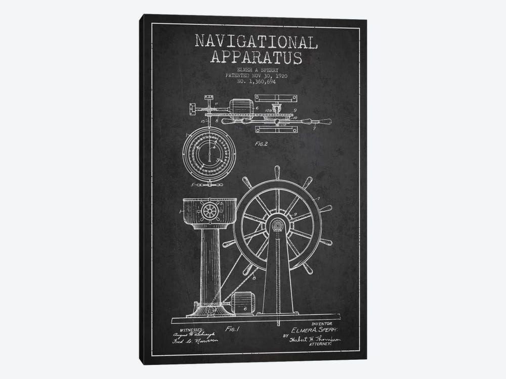Navigational Apparatus Charcoal Patent Blueprint by Aged Pixel 1-piece Art Print