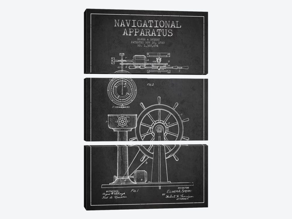 Navigational Apparatus Charcoal Patent Blueprint by Aged Pixel 3-piece Canvas Art Print