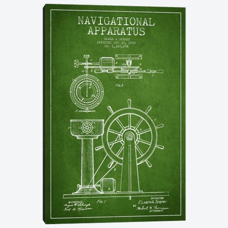 Navigational Apparatus Green Patent Blueprint Canvas Print #ADP2606} by Aged Pixel Canvas Print