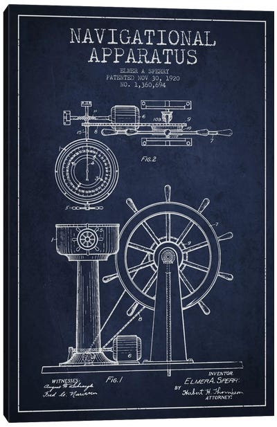 Nautical blueprints canvas art prints icanvas navigational apparatus navy blue patent blueprint canvas art print malvernweather Images