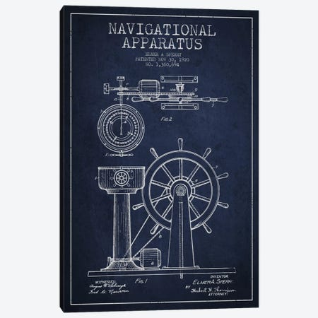 Navigational Apparatus Navy Blue Patent Blueprint Canvas Print #ADP2607} by Aged Pixel Canvas Art Print