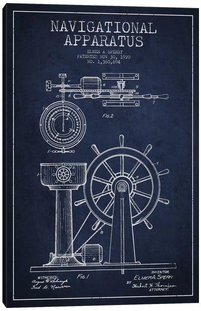 Navigational Apparatus Navy Blue Patent Blueprint Canvas Art Print