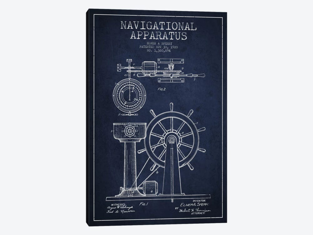 Navigational Apparatus Navy Blue Patent Blueprint by Aged Pixel 1-piece Canvas Art Print
