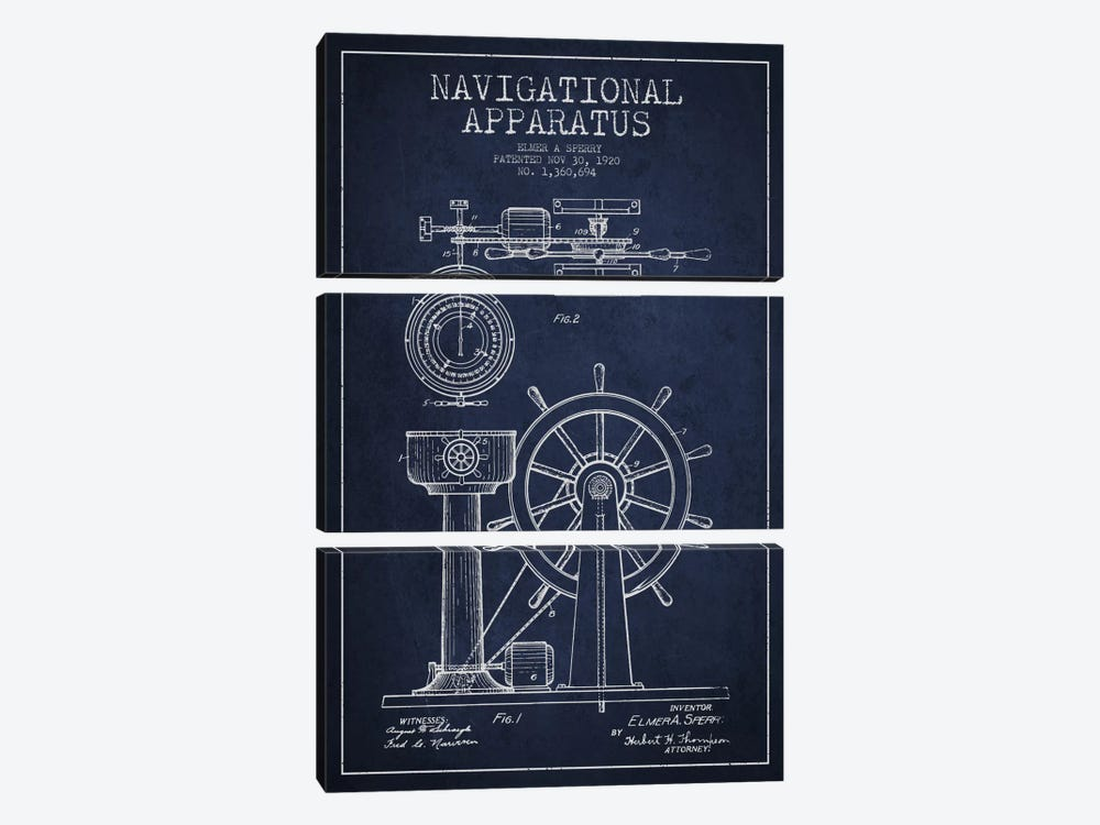 Navigational Apparatus Navy Blue Patent Blueprint by Aged Pixel 3-piece Art Print