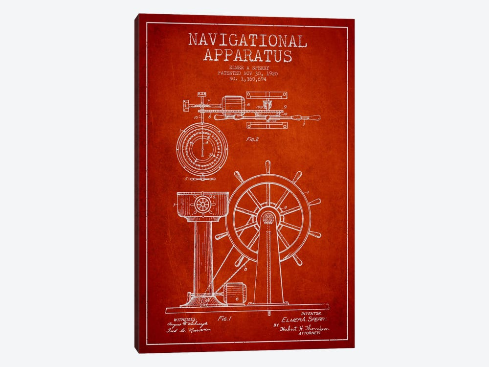 Navigational Apparatus Red Patent Blueprint by Aged Pixel 1-piece Canvas Artwork