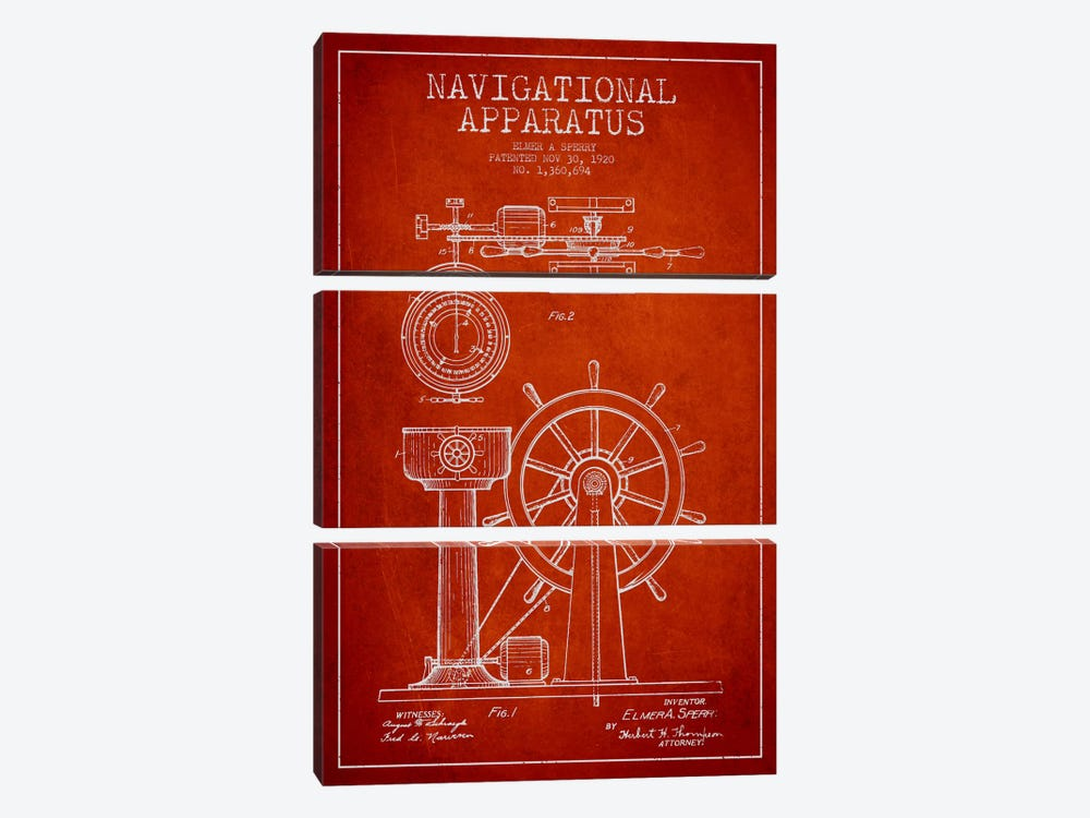 Navigational Apparatus Red Patent Blueprint by Aged Pixel 3-piece Canvas Art