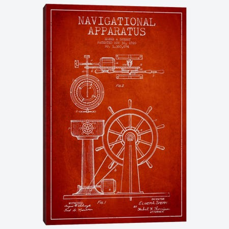 Navigational Apparatus Red Patent Blueprint 3-Piece Canvas #ADP2608} by Aged Pixel Canvas Art