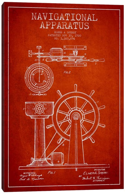 Navigational Apparatus Red Patent Blueprint Canvas Art Print