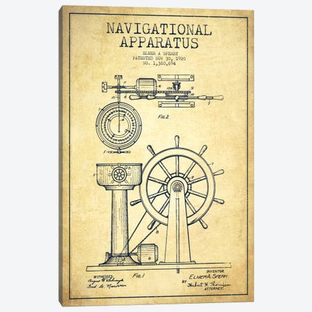 Navigational Apparatus Vintage Patent Blueprint Canvas Print #ADP2609} by Aged Pixel Canvas Wall Art