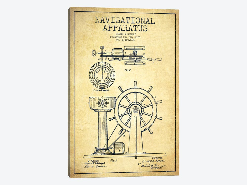 Navigational Apparatus Vintage Patent Blueprint by Aged Pixel 1-piece Canvas Art Print
