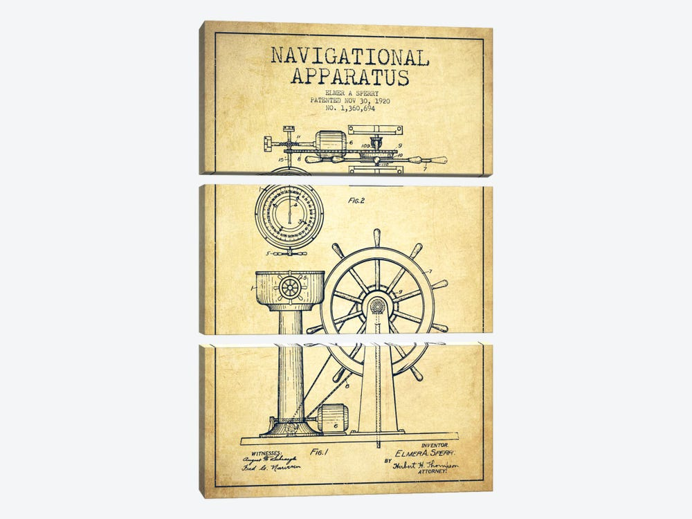 Navigational Apparatus Vintage Patent Blueprint by Aged Pixel 3-piece Art Print