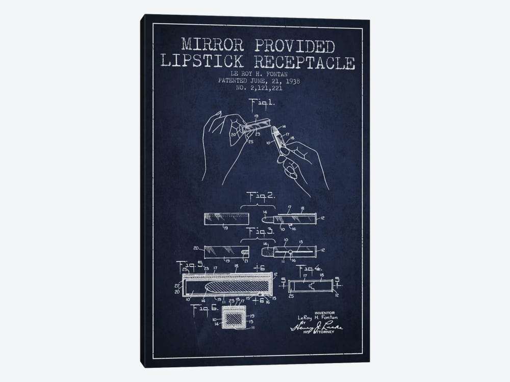 Mirror Provided Lipstick Navy Blue Patent Blueprint by Aged Pixel 1-piece Canvas Art