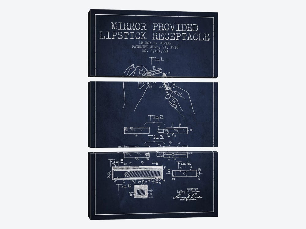 Mirror Provided Lipstick Navy Blue Patent Blueprint by Aged Pixel 3-piece Canvas Artwork