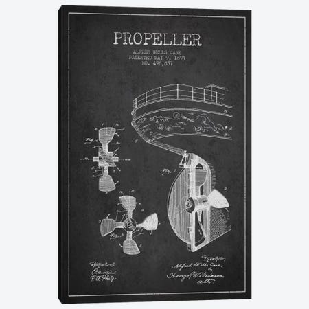 Propeller Charcoal Patent Blueprint Canvas Print #ADP2610} by Aged Pixel Art Print