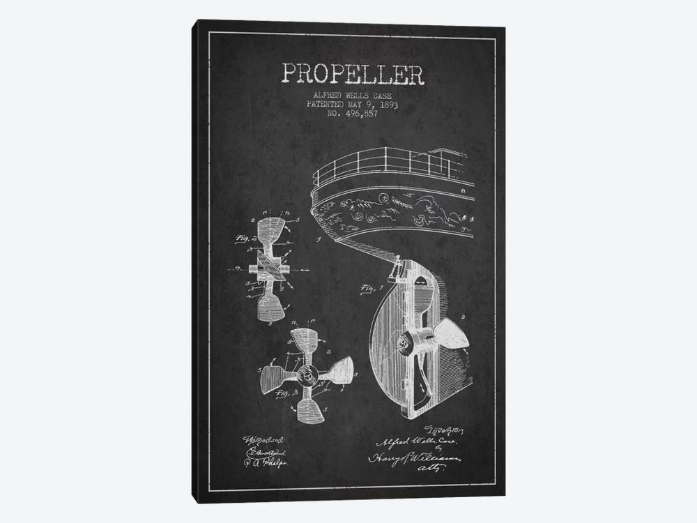 Propeller Charcoal Patent Blueprint by Aged Pixel 1-piece Art Print