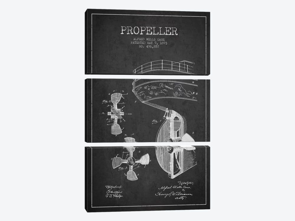 Propeller Charcoal Patent Blueprint by Aged Pixel 3-piece Canvas Print