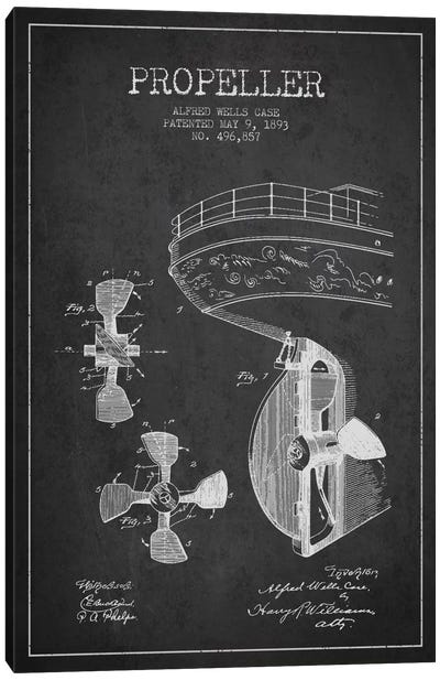 Propeller Charcoal Patent Blueprint Canvas Art Print