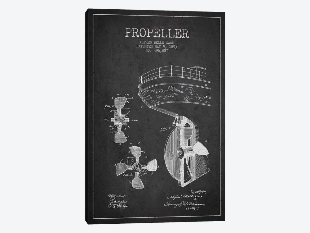 Propeller Charcoal Patent Blueprint by Aged Pixel 1-piece Art Print