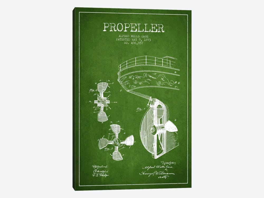 Propeller Green Patent Blueprint by Aged Pixel 1-piece Canvas Artwork